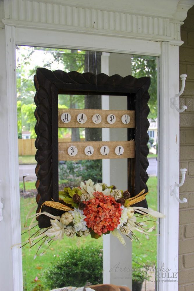 Rustic Fall Framed Wreath From a Thrift Store Frame!!! artsychicksrule.com