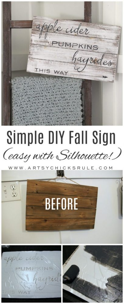 Apple Cider Hayrides & Pumpkins Sign - Simple DIY Fall Sign!! artsychicksrule.com #fallsign #silhouette #applecidersign #pumpkinssign