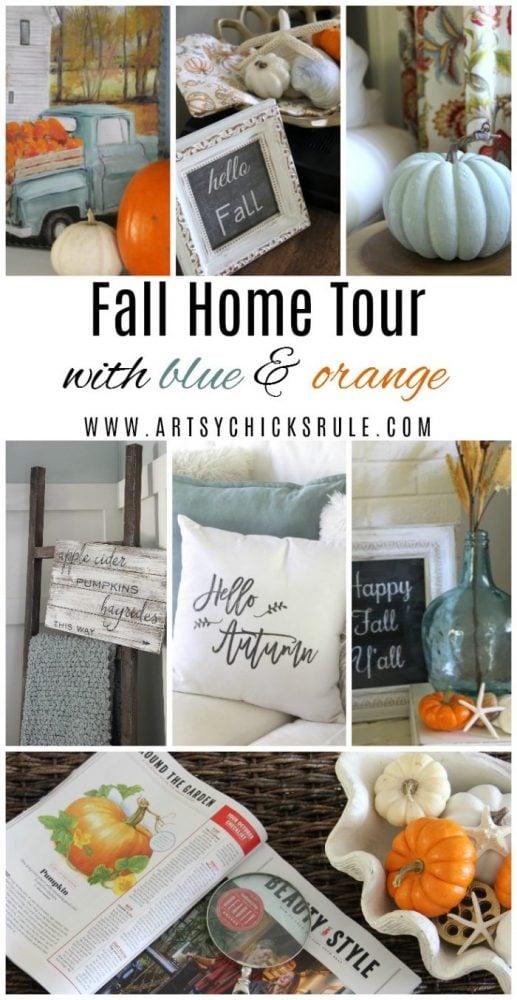 A Traditional Fall Home Tour (with pretty aquas AND orange!) artsychicksrule.com #fallhometour #coastalfall