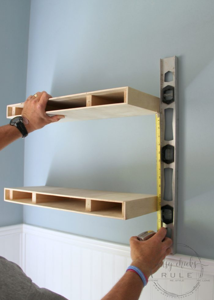 Diy floating shelves tutorial easier than you think for Easy diy wall shelf