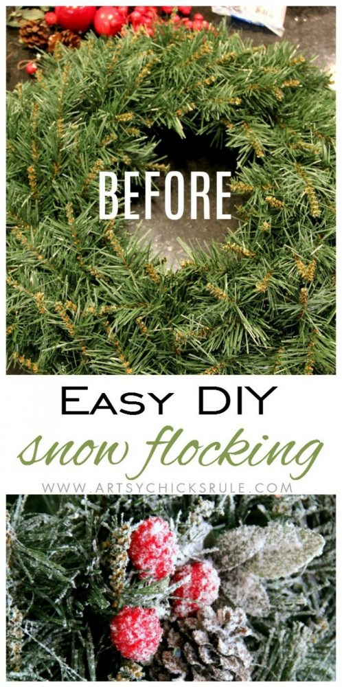 DIY Snow Flocking artsychicksrule.com #snowflocking #diysnowflock #flockedtree #diysnowflocking