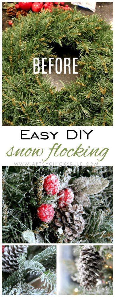 DIY Snow Flocking artsychicksrule.com #snowflocking #diysnowflock #flockedtree #diysnowflocking