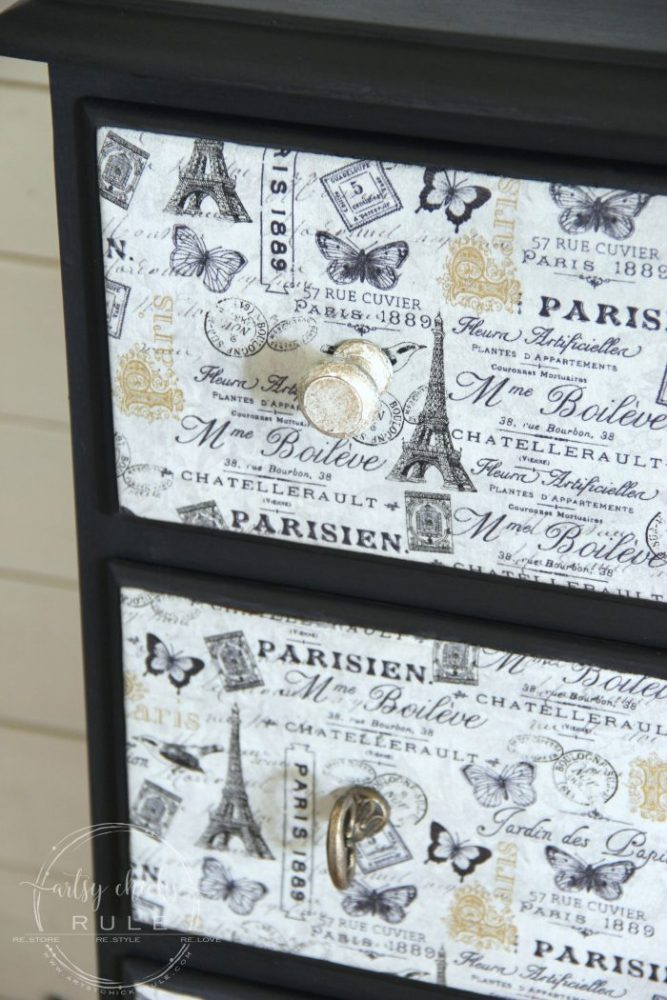 French Fabric Decoupage Tutorial - artsychicksrule.com #fabricdecoupage #decoupage #chalkpaint #frenchdecor