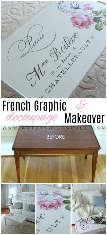 French Graphic & Decoupage Coffee Table Makeover artsychicksrule.com #frenchcountry #frenchgraphic #decoupage