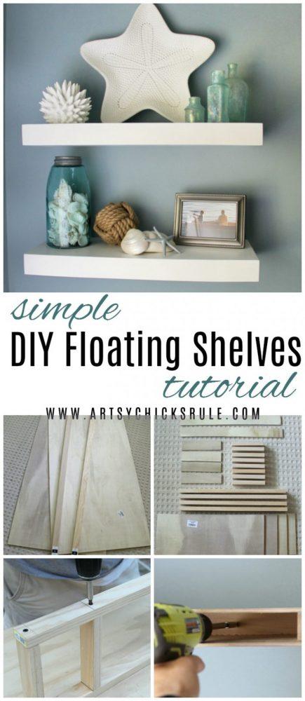 DIY Floating Shelves Tutorial artsychicksrule.com #floatingshelvestutorial #diyfloatingshelves