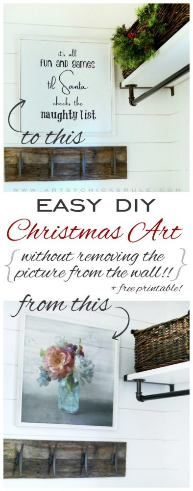 EASY, DIY Christmas Art! Don't remove your wall art, cover it up with new Christmas art the easy way! artsychicksrule.com #Christmasdecor #Christmascrafts #Christmassign #Christmaswallart
