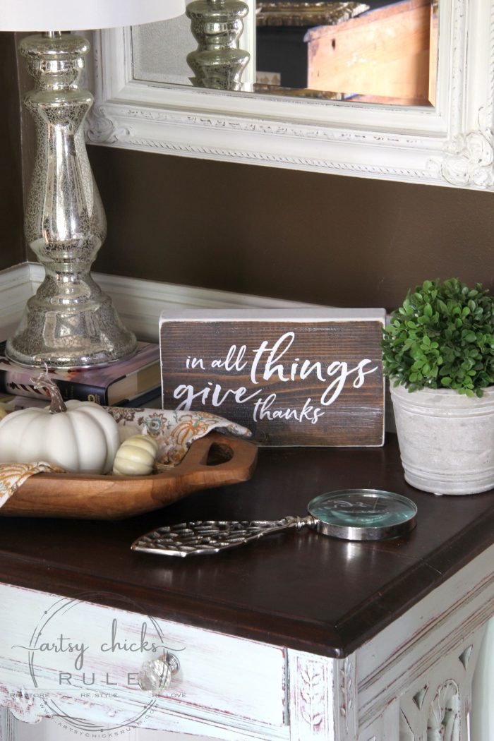 In All Things Give Thanks Sign and Free Printable artsychicksrule.com #freeprintable #inallthings #givethanks