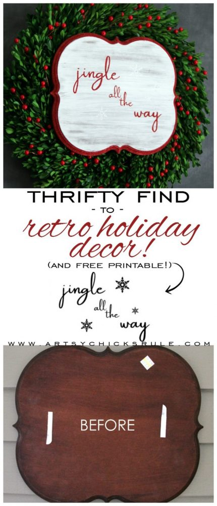 Thrifty Jingle All The Way Sign - artsychicksrule.com #jinglealltheyway #christmassign #holidaysign #retroChristmas