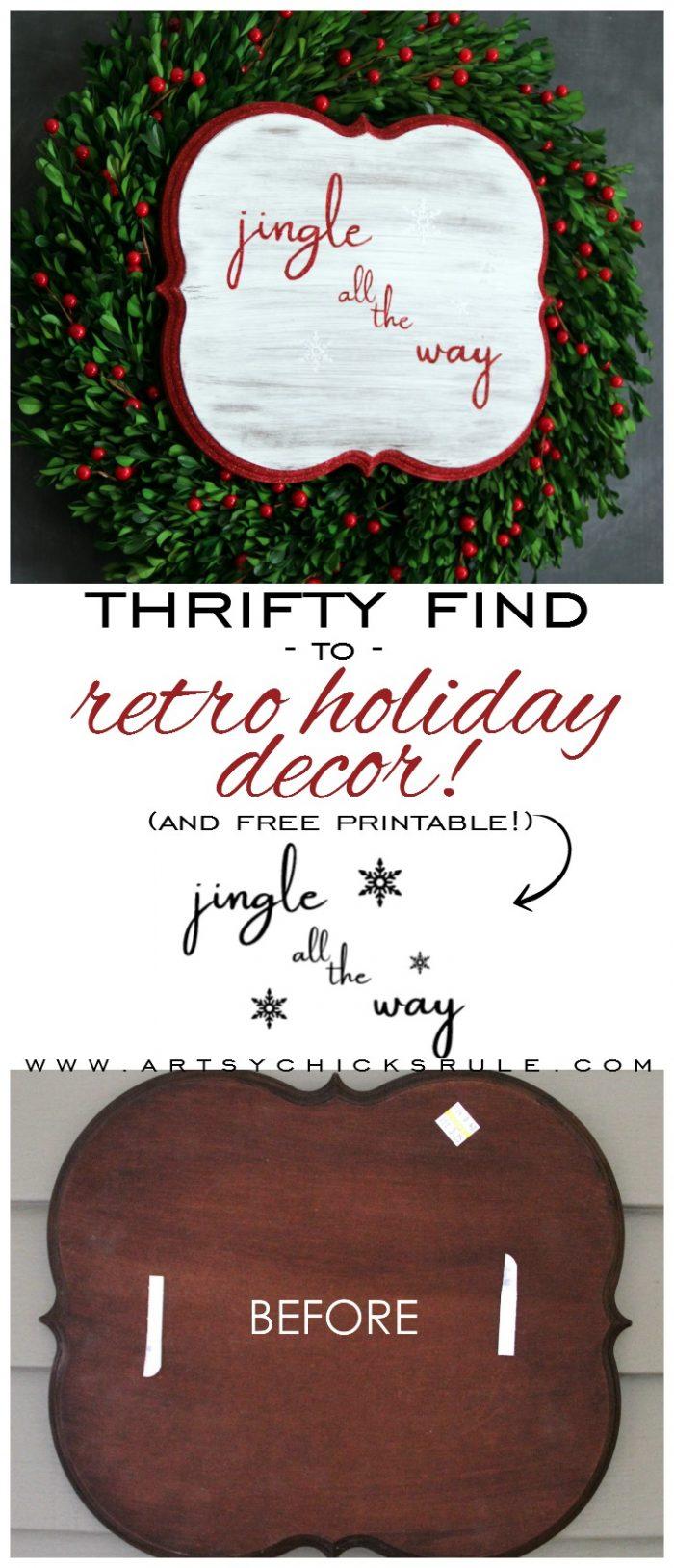Thrifty Jingle All The Way Sign - artsychicksrule.com #jinglealltheyway #christmassign #holidaysign #retroChristmas