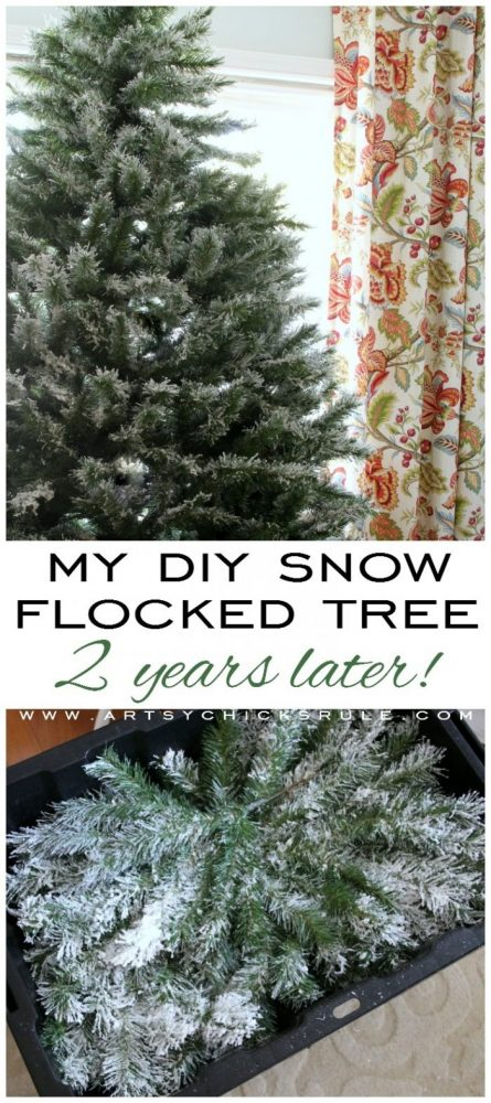 DIY Snow Flocked Tree - 2 Years Later!! artsychicksrule.com #snowflocking #snowflock #diyflockedtree #diysnowflock
