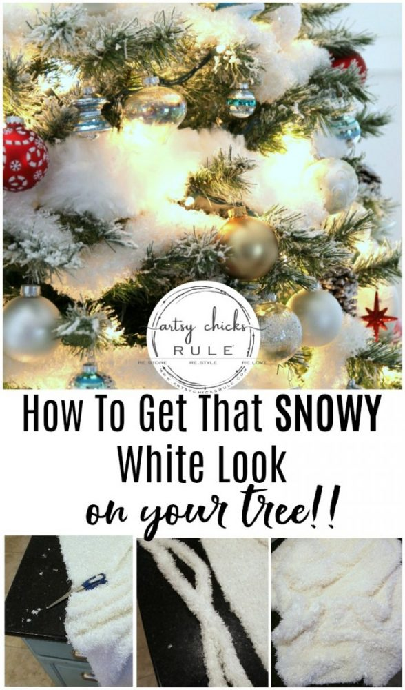 How To Get That SNOWY White Tree and Festive Christmas Tour - artsychicksrule.com #snowytree #whitechristmastree #snowcoveredtree #whitefluffygarland #flockedtree