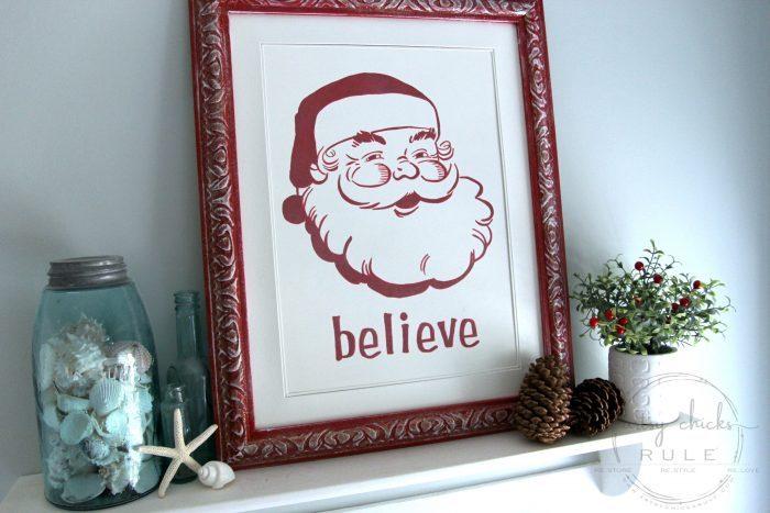 Santa Sign - DIY Believe Sign artsychicksrule.com #santasign
