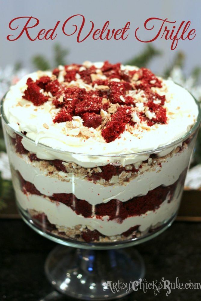 BEST dessert!! So easy, love this Red Velvet Trifle!! artsychicksrule.com #redvelvet #redvelvetcake #redvelvettrifle