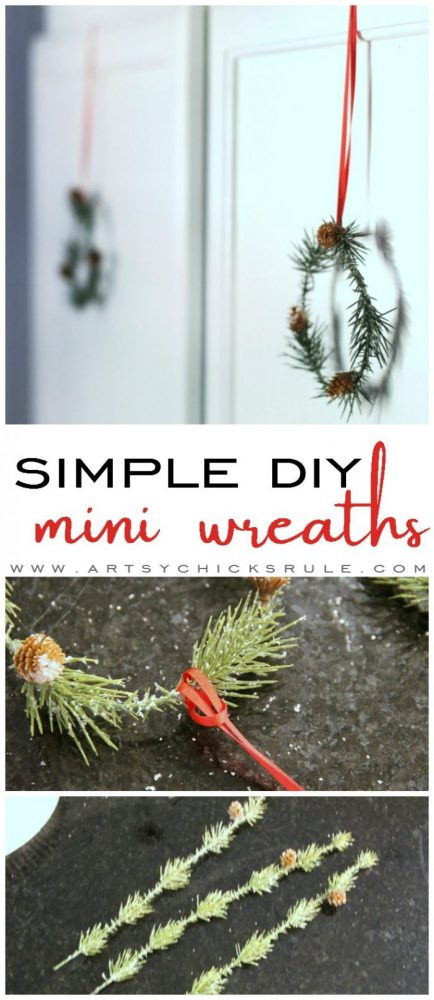 These wispy little DIY mini wreaths are so easy to make! And budget friendly too! artsychicksrule.com #miniwreaths #diywreaths #christmaswreaths #diyminiwreaths