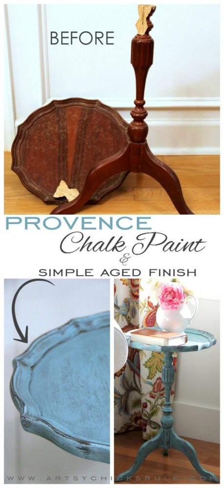 Create this SIMPLE aged finish! (done with Chalk Paint or any paint!) artsychicksrule.com #provencechalkpaint #chalkpaintedantique #chalkpaintedfurniture #agedfinish