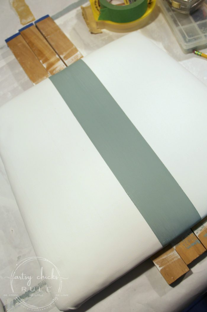 Painting Fabric Instead of Replacing It!! Easy to do!! artsychicksrule.com #paintingfabric #paintedfabric #chalkpainttutorials #chalkpaintedfabric #chalkpaint