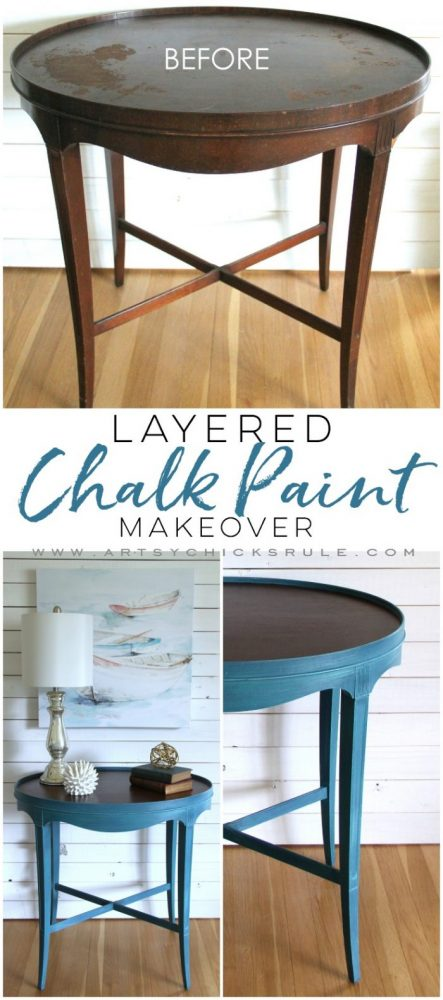 Layered Chalk Paint Makeover Tutorial - artsychicksrule.com #layeredchalkpaint #chalkpaintmakeover #paintedfurniture #aubussonblue