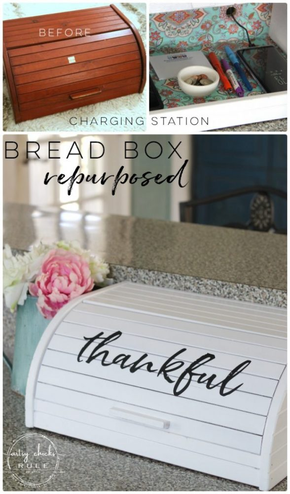 Bread Box Repurposed Into Charging Station So EASY! - artsychicksrule.com #chargingstation #breadboxrepurposed #breadboxideas #silhouette