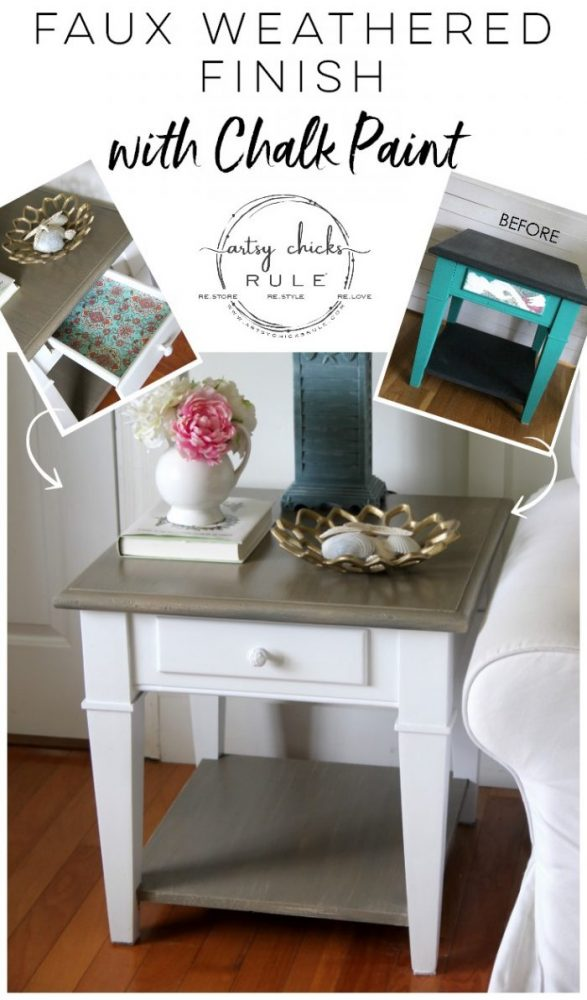 Coastal Style Chalk Paint Makeover (and FAUX Weathered Finish with just 2 paints!) EASY! artsychicksrule.com #fauxweatheredfinish #weatheredfinish #chalkpaintmakeover #paintedfurniture #coastalstyle #coastaldecor #chalkpaintfurniture