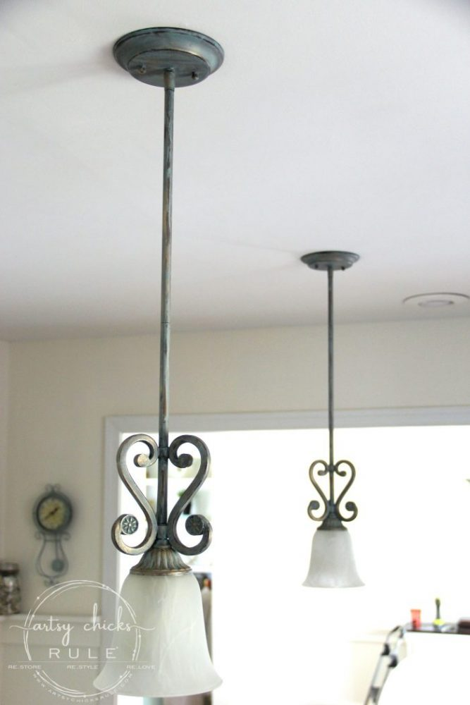 How To Paint Light Fixtures (with this simple trick!!) artsychicksrule.com #paintlightfixtures #paintedlightfixtures #paintedchandelier #fauxverdigris #fauxpatina #chalkpaint #chalkpaintedlight