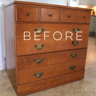 Coastal Blue & Antique Walnut Gel Stain Dresser