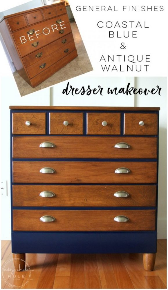 Coastal Blue & Antique Walnut Gel Stain Dresser Makeover artsychicksrule.com #antiquewalnutgelstain #generalfinishes #javagel #coastalblue #dressermakeover #paintedfurniture #furnituremakeover #boydresser #stainedresser #milkpaintdresser