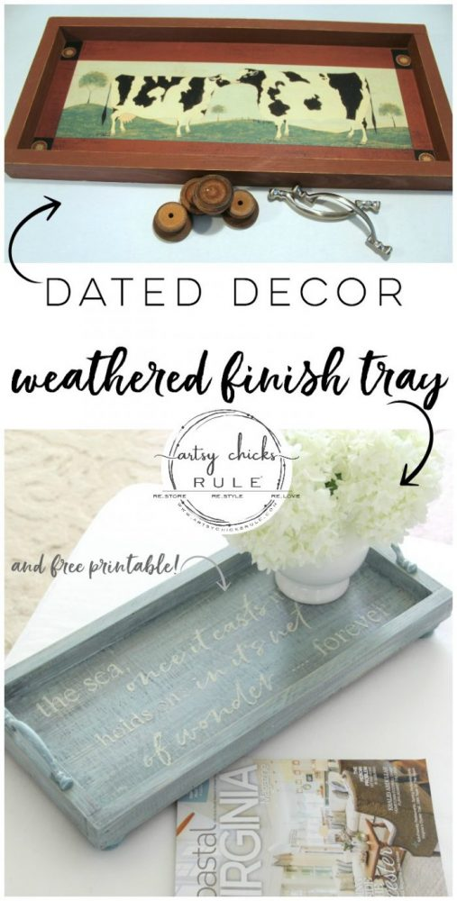 Dated decor turned weathered finish tray!! SIMPLE makeover!! Full tutorial here! artsychicksrule.com #weatheredfinish #diyweatheredwood #weatheredwoodfinish #repurposeddecor #repurposedmakeover #chalkpaintprojects