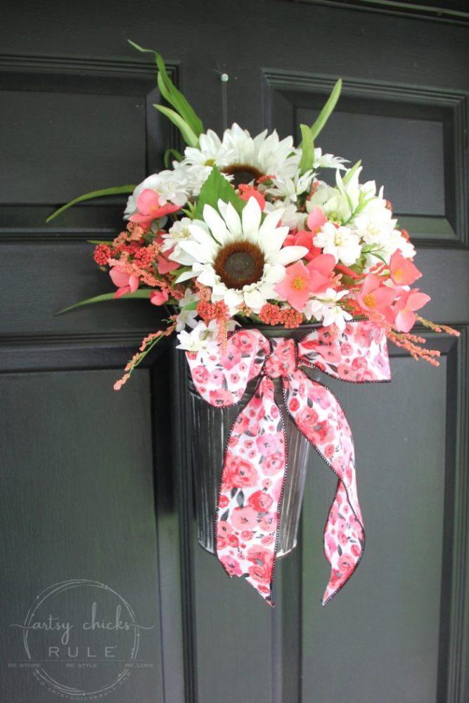 Flower Pail Wreath - EASY Wildflower Look!! artsychicksrule.com #flowerpailwreath #uniquewreathideas #wildflowerwreath #floralwreath #floralwallhanging #floralarrangement #flowercrafts #diywreath
