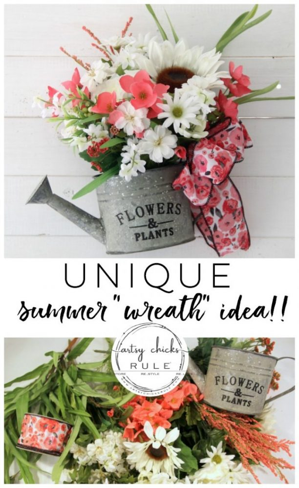 Unique Summer Wreath Idea!! Watering Can with Flowers to hang OR display on a shelf, etc. artsychicksrule.com #wateringcanwreath #uniquewreathideas #summerwreath #wildflowerwreath #wreathideas #summerdecor