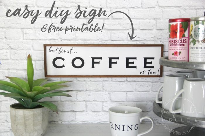 But First Coffee Sign... (OR TEA!!) Easy to make coffee sign for your home or your coffee bar! artsychicksrule.com #coffeebar #coffeesign #teasign #coffeelover #tealover #silhouetteprojects #butfirstcoffee #diysign #coffeeserver