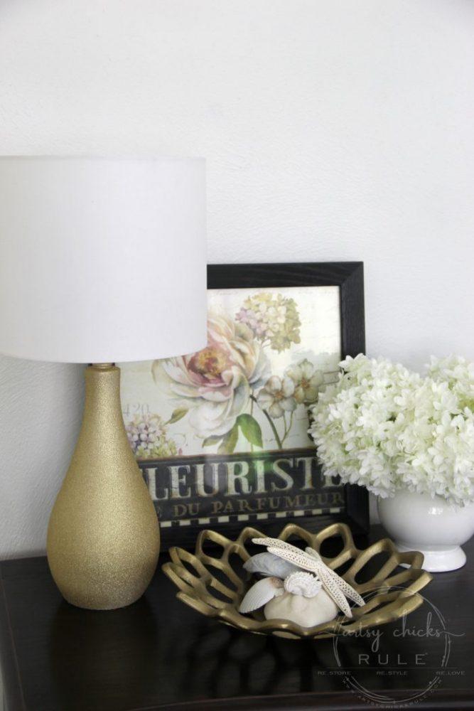 Glitter Gold Lamp Makeover - ($7 thrift store makeover) - artsychicksrule.com #thriftstoremakeover #thriftymakeover #lampmakeover #goldlamp #glitterpaint #paintedlamp