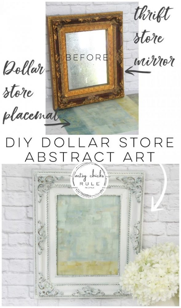 DIY Dollar Store Abstract Art - Easy artwork you can create for your own home decor. Inexpensive DIY home decor for the win! artsychicksrule.com #dollarstorecrafts #dollarstoreprojects #dollarstoreabstractart #diyabstractart #easydiyart #diyart #diyhomedecor