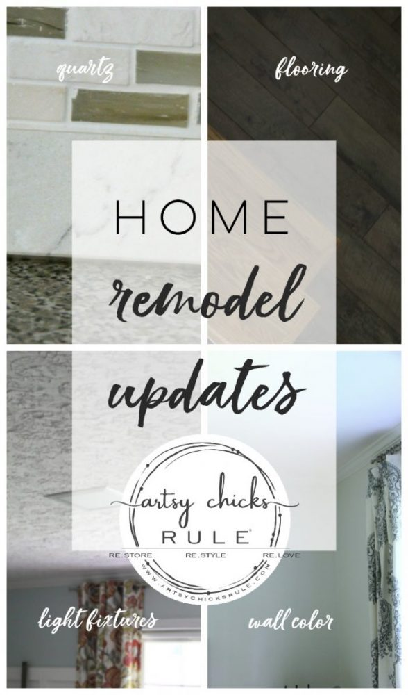 Home Remodel Updates Galore!!! Flooring, Quartz, Paint Colors, Cabinets, Lighting and Appliances!! artsychicksrule.com #homeremodel #homeupdates #quartz #quartzcountertops #woodflooring #laminateflooring #woodlookflooring #stainlessappliances #uniquelighting #lightingideas #coastalhomeideas #readytoassemble #kitchencabinets
