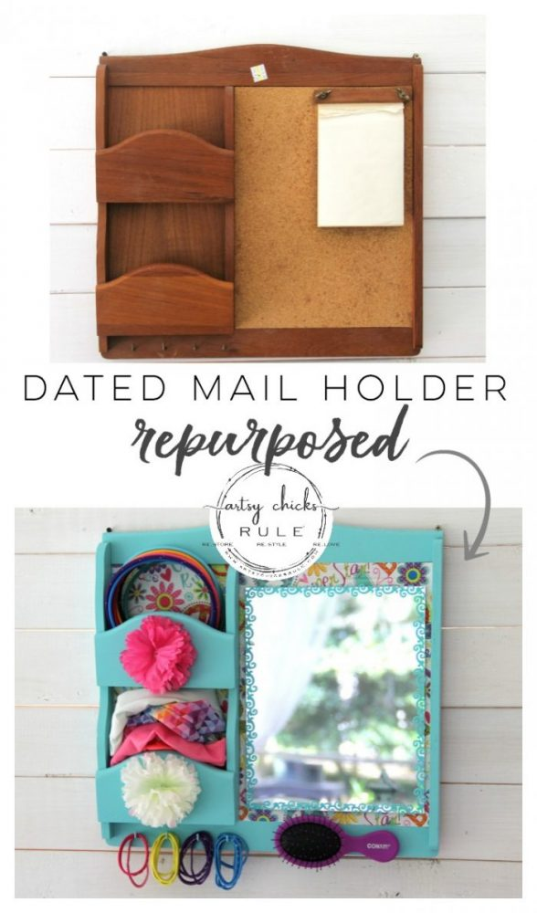 Keys, Note & Mail Holder REPURPOSED!! Simple and thrifty makeover! #mailholderrepurposed #mailsorterrepurposed #mailorganizer #repurposedprojects #girlsprojects #colorfulprojects #girlsroomdecor artsychicksrule.com