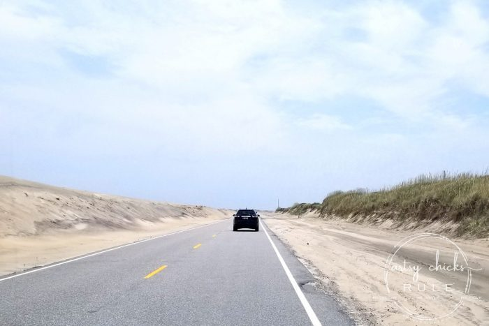 Outer Banks Things To Do (and see!!) the drive to Hatteras artsychicksrule.com #outerbanks #outerbanksvacation #obx #traveldestinations #travel #visitobx #thingstodoinobx #outerbankstrip #coastaldestinations #coastalvacations #nagshead #hatteras #manteo