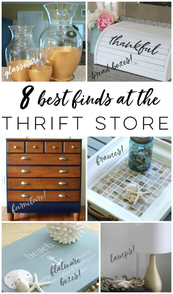 Do you know what the 8 BEST things to buy at the thrift store are? Find out what these must-haves are here! artsychicksrule.com #thriftstoremakeovers #thriftstorefinds #thriftstorerepurposed #repurposedmakeovers #thriftymakeovers #furnituremakeovers #thriftyfinds #framesideas #waystouseframes #flatwareboxes #diytrays