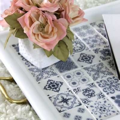DIY Blue and White Tile Tray Makeover