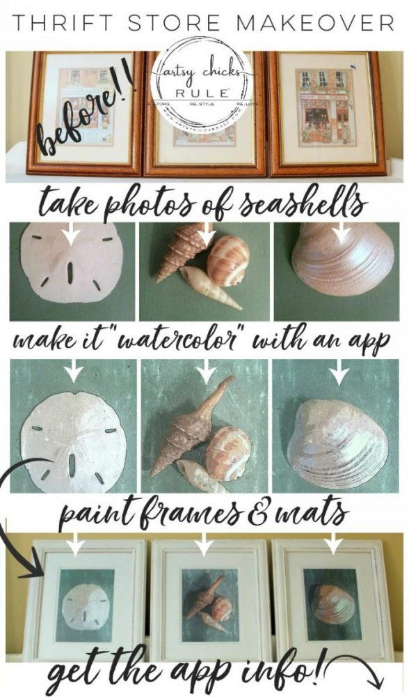 SIMPLE DIY Coastal Wall Art Tutorial!! (a thrifty find, a little paint, a photo and a watercolor app is all you need!) Easy, budget friendly home decor! artsychicksrule.com #coastalwallart #diywallart #diyhomedecor #coastalstyle #coastalhomedecor #coastaldiy #beachart #seashellart #seashellmakeover #seashellcrafts