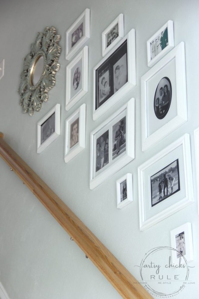 Gallery Wall Update! (budget friendly the first time and even more budget friendly the second!) artsychicksrule.com #gallerywall #thriftydecor #howtohanggallerywall #gallerywalltips #gallerywallideas