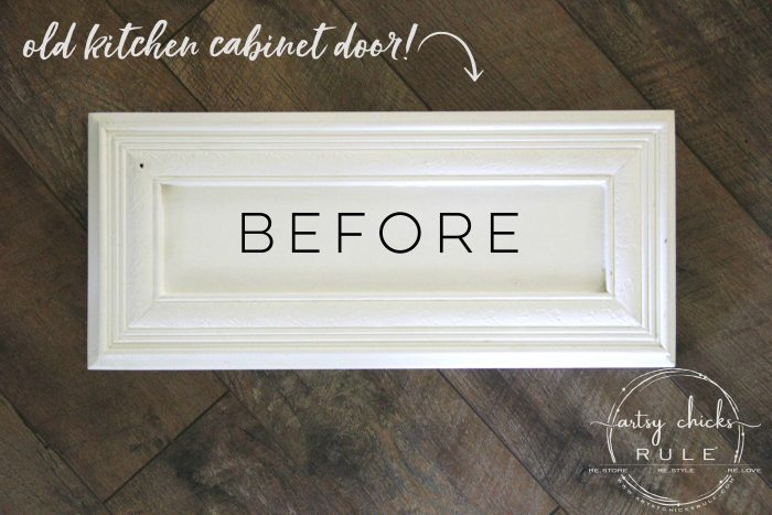 Make Your Own Stay Awhile Sign With This FREE Printable (and here's a tip....repurpose an old cabinet door!) BEFORE artsychicksrule.com #repurposed #cabinetdoorideas #stayawhile #diysign #freeprintable #cabinetdoorrepurposed #silhouetteprojects