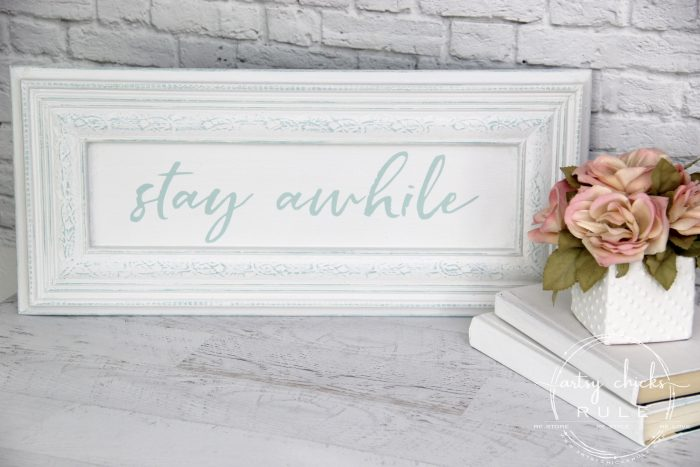 Make Your Own Stay Awhile Sign With This FREE Printable (and here's a tip....repurpose an old cabinet door!) (styled) artsychicksrule.com #repurposed #cabinetdoorideas #stayawhile #diysign #freeprintable #cabinetdoorrepurposed #silhouetteprojects