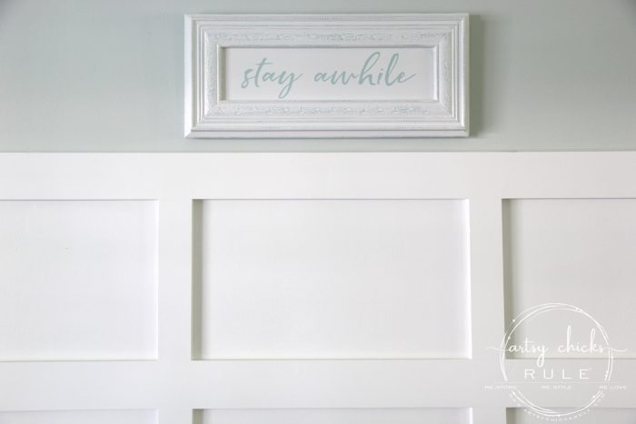 Make Your Own Stay Awhile Sign With This FREE Printable (and here's a tip....repurpose an old cabinet door!) (on board and batten) artsychicksrule.com #repurposed #cabinetdoorideas #stayawhile #diysign #freeprintable #cabinetdoorrepurposed #silhouetteprojects