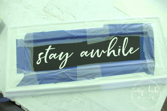 Make Your Own Stay Awhile Sign With This FREE Printable Silhouette Cameo Stencil artsychicksrule.com #repurposed #cabinetdoorideas #stayawhile #diysign #freeprintable #cabinetdoorrepurposed #silhouetteprojects