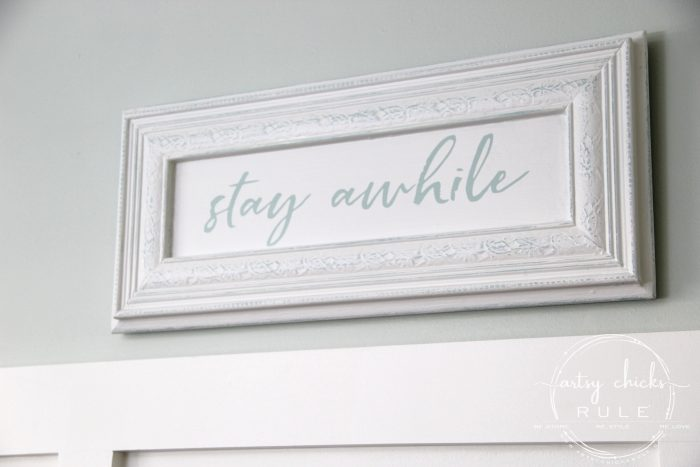 Make Your Own Stay Awhile Sign With This FREE Printable (Sea Salt Sherwin Williams) artsychicksrule.com #repurposed #cabinetdoorideas #stayawhile #diysign #freeprintable #cabinetdoorrepurposed #silhouetteprojects