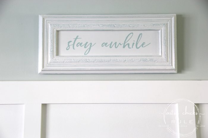 Make Your Own Stay Awhile Sign With This FREE Printable (hang it up) artsychicksrule.com #repurposed #cabinetdoorideas #stayawhile #diysign #freeprintable #cabinetdoorrepurposed #silhouetteprojects