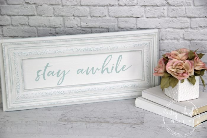 Make Your Own Stay Awhile Sign With This FREE Printable (and here's a tip....repurpose an old cabinet door!) 1 artsychicksrule.com #repurposed #cabinetdoorideas #stayawhile #diysign #freeprintable #cabinetdoorrepurposed #silhouetteprojects