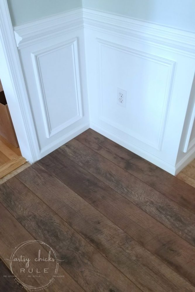 Gorgeous and AFFORDABLE Rustic Laminate Flooring artsychicksrule.com #rusticflooring #farmhouseflooring #farmhousestyle #coastalstyle #coastaldecor #coastalflooring #diyflooring #laminateflooring #fixerupperstyle