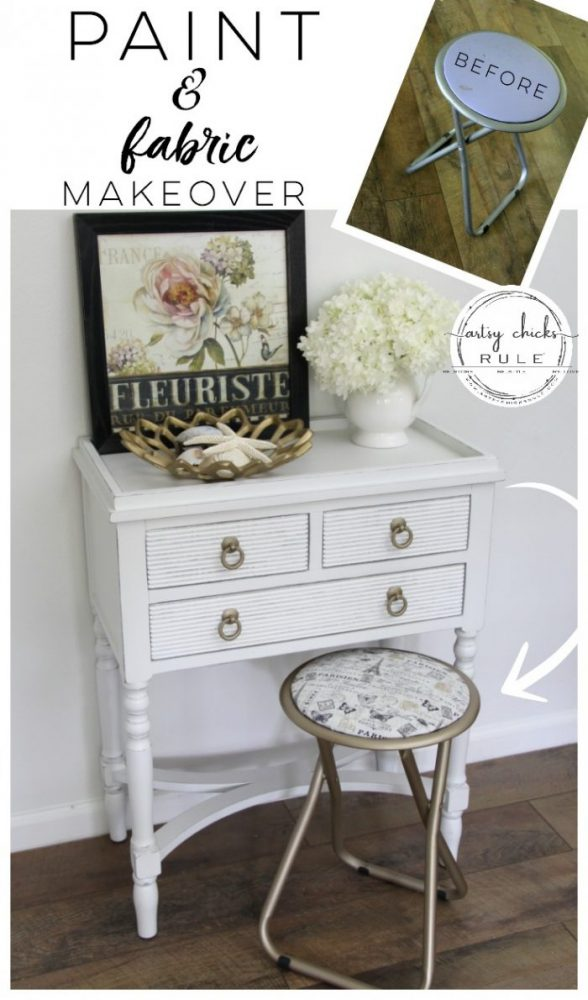 Paint & Fabric Makeover! SO Easy too!! artsychicksrule.com #paintandfabric #furnituremakeover #frenchdecor #goldfurniture #goldpaint #frenchstyle #frenchfabric