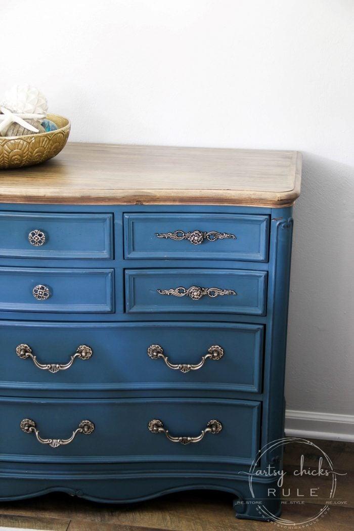 Aubusson Blue Chalk Paint Dresser Makeover Again Artsy Chicks