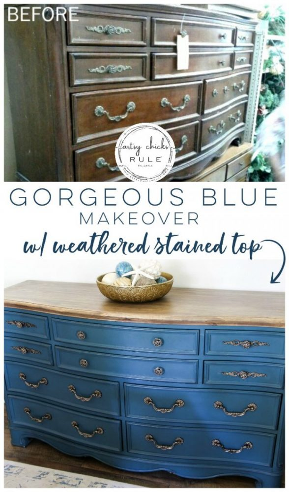 "Aubusson Blue Chalk Paint DRESSER Makeover (again!!!) This time with a ""coastal glam"" flair!) artsychicksrule.com #aubussonblue #chalkpaint #chalkpaintedfurniture #paintedfurniture #bluefurniture #bluepaint #anniesloan #furnituremakeover #blueandgold #furnituremakeoverideas"